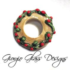 Christmas Holly Red flowers and Green Vines by flamekissedglass, $28.00