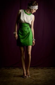 beautiful combination of green silk and unbleached linen