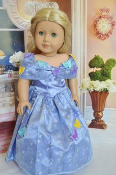 Brittany's - CINDERELLA WITH BUTTERFLIES FOR AMERICAN GIRL DOLLS, $19.99 (http://www.mybrittanys.com/dresses/dresses-and-gowns/cinderella-with-butterflies-for-american-girl-dolls/)