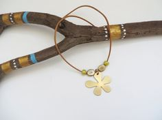 SUMMER SALE  25% OFF FlowerNecklace leather by NGTAcreations