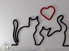 Chats en ligne / Laine et tricotin / Déco murale par PetitPatappon