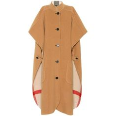 Wool-blend cape Burberry (€1.425) via Polyvore featuring outerwear