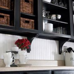 """Beadboard backsplash. May use beadboard wallpaper as a quick facelift while Kitchen is """"in progress""""."""