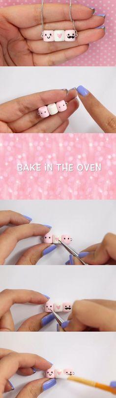 diy fimo marshmallow ketting | bykaro.nl voor kralen, bedels, fimo en meer...