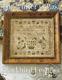 "BLACKBIRD DESIGNS ""The Winter Is Past"" | Counted Cross Stitch Pattern | Prim Sampler, Tulips, Flowers, Vines, Birds, Alphabet, by NeedleCaseGoodies on Etsy"