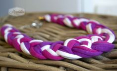 Pink, Purple and White braided necklace crocheted with tshirt yarn and beads. Recycled Fabric Necklace #handmade #crochet #trapillo  https://www.etsy.com/uk/listing/200424114/various-colours-cordelia-braided-set?ref=listing-shop-header-2 #knotted