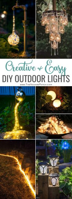 Creative and simple DIY lighting ideas for outdoorsCreative and simple DIY outdoor lighting DIY solar lights outdoor DIY landscape lighting DIY outdoor lights Outdoor Garden Lighting, Outdoor Chandelier, Landscape Lighting, Diy Chandelier, Garden Lighting Decoration, Solar Light Chandelier, Gazebo Lighting, Chandelier Creative, Rope Lighting