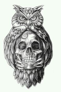 Papirouge tattoo drawings skull tattoo owl tattoo fine … – Картинки … - Famous Last Words Owl Skull Tattoos, Owl Tattoo Drawings, Tattoo Sketches, Leg Tattoos, Arm Tattoo, Body Art Tattoos, Tattoo Owl, Night Owl Tattoo, Owl Tattoo Meaning