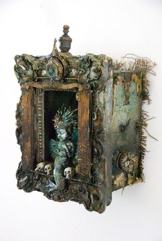 """""""assemblage , in art, work produced by the incorporation of everyday objects into the compositio. Shadow Box Kunst, Shadow Box Art, Found Object Art, Found Art, Altered Boxes, Altered Art, Arte Steampunk, Cigar Box Crafts, Assemblage Art"""