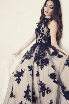 Black lace appliqued tulle prom dress, long dress for prom 2017