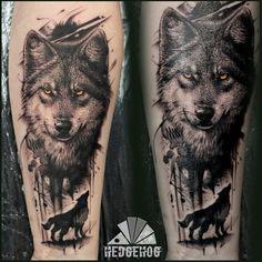 Wolf Sleeve, Wolf Tattoo Sleeve, Cool Half Sleeve Tattoos, Leg Tattoo Men, Tattoo Sleeve Designs, Tattoo Designs Men, Forearm Cover Up Tattoos, Wolf Tattoo Forearm, Tribal Wolf Tattoo