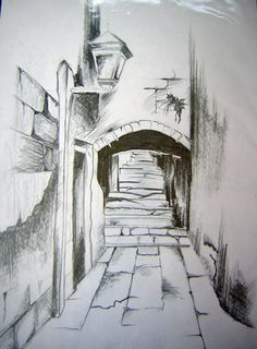 Landscape Drawings in Pencil | pencil drawing by webgirla traditional art drawings landscapes scenery ...