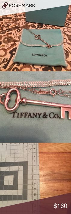 • Authentic Tiffany & Co. • New Listing Beautiful Authentic Tiffany & Co Key Necklace. Comes with pouch and box. Was recently polished. 925 silver. Chain is also original and has Tiffany & Co. And 925 also, on chain near the lobster clasp close. I had two available (in separate listings)  same key - only difference is the chains. Discontinued Style. The other key recently sold for $160.00. This price on this listing is firm, out of fairness to my first buyer. Thank you. Tiffany & Co. Jewelry…