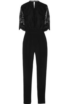 Embroidered lace-paneled woven jumpsuit Embroidered lace-paneled woven jumpsuit #allinone #covetme #selfportrait
