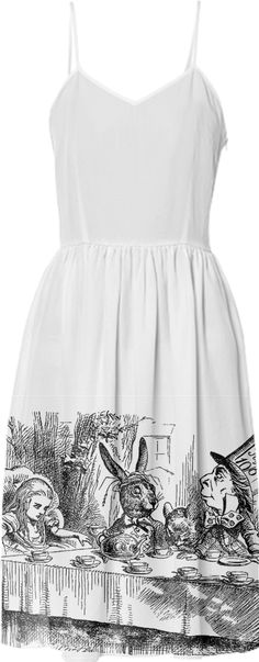 Vintage Alice in Wonderland tea party with the Mad Hatter and the White Rabbit black and white drawing emo goth summer sun dress from Print All Over Me