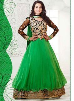 Amisha Patel In Green Long Anarkali Suit http://www.angelnx.com/Salwar-Kameez/Bollywood-Salwar