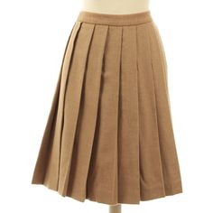 Pre-owned Pleated skirt in light brown ($115) ❤ liked on Polyvore featuring skirts, brown, brown wool skirt, pleated skirt, miu miu skirt, miu miu and wool skirt