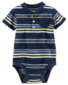 Baby Boy Striped Henley Bodysuit | Carters.com