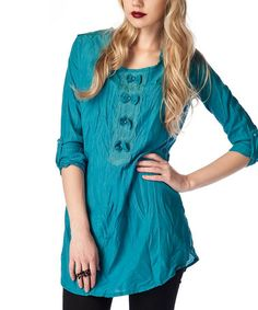 Another great find on #zulily! Petrol Blue Crinkle Tunic #zulilyfinds