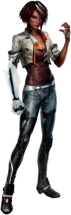shadowrun; female; human; cyberarm; dark-haired