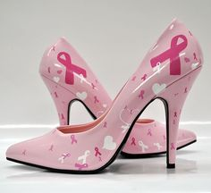 These Pink Ribbon heels with bows and hearts are in support of the fight against breast cancer. We lovingly hand paint each detail on these ...