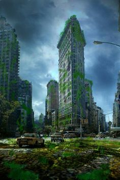 This post-apocalyptic artwork depicts New York City's iconic Flatiron Building before and after the Zombie Apocalypse, reclaimed by nature and devoid of ...