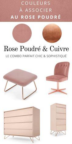 Associer le rose poudré avec le cuivre Living Room Furniture, Living Room Decor, Deco Rose, Color Trends, Color Inspiration, Really Cool Stuff, Ottoman, Art Deco, Cabinet