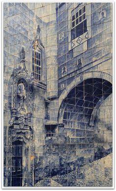Panel de azulejos en Coimbra.