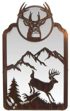 "Whitetail Deer Mirror Metal Wall Art ~ 24"" Tall"