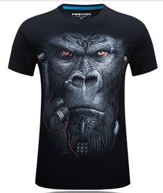 Plus Size S-4XL Summer 3D Animal Pattern Printing Men T-shirt Personality Short Tees