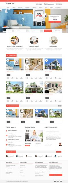 Real Spaces is a Powerful WordPress Theme designed & developed for Real Estate, Estate Agents Websites and comes handy for Business or Corporate Websites. Webdesign Inspiration, Web Inspiration, Wordpress Website Design, Wordpress Theme Design, Real Estate Website Design, Website Designs, Website Ideas, Web Design Quotes, Creative Web Design