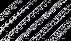 Crochet Frills & Furbelows Edging patterns Nos. 1801 to 1817  originally published in Star Book of 100 Edgings. #edging #edgingpatterns