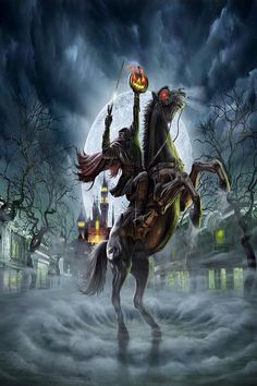 """Get ready to """"lose your head"""" at Hong Kong Disneyland's Haunted Halloween as the intriguing Headless Horseman reported to be haunting th. Disneyland Halloween, Scary Halloween, Vintage Halloween, Fall Halloween, Happy Halloween, Halloween Stuff, Scary Scarecrow, Modern Halloween, Halloween Trees"""