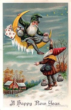 Victorian New Year Gnomes Greeting
