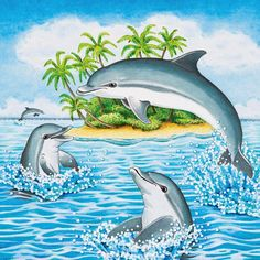 Cartoon Dolphin, Cartoon Sea Animals, Dolphin Painting, Dolphin Art, Art Drawings For Kids, Drawing For Kids, Kindergarten Art Lessons, School Murals, Underwater Art
