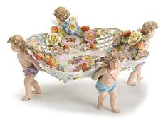 Dresden porcelain floral encrusted figural centerpiece, late