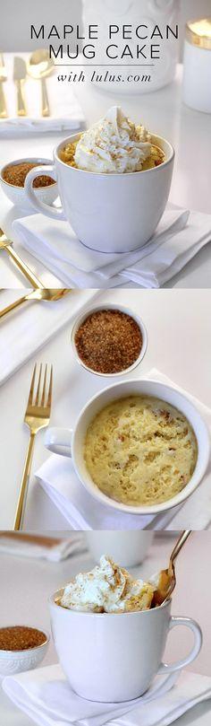 The perfect Thanksgiving dessert! Simple and easy maple pecan mug cake! #lovelulus