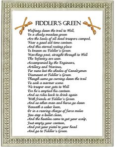 Fiddler's Green Poem for U.S. Army Cavalry