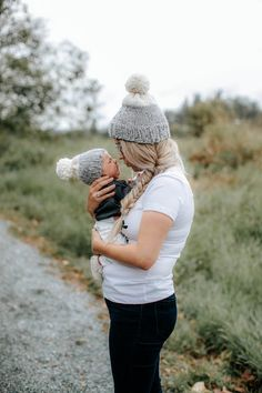 Mother and Daughter in matching toques #fall #knitted #fashion