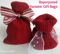 Repurposed Sweater Sleeve Gift Bag: Could be used for any holiday. A longer one is a great wine bag!    Tutorial