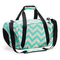 Runetz - Extra Large Chevron TEAL Blue Gym Bag Athletic Sport Shoulder Bag for Men & Women Duffel 30-inch - Chevron TEAL