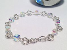Mobius Rings Crystal Cubes Silver Wire Wrapped Bracelet on Etsy, $42.00