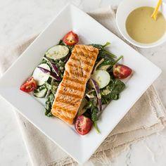 Grilled Salmon Salad w/ Lemon-Tahini Dressing