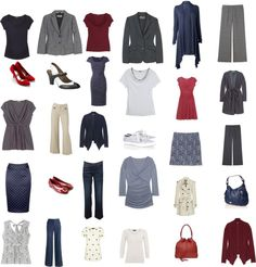 """30 Items for Capsule Wardrobe"" by thestylecoach on Polyvore. Monochromatic with red."