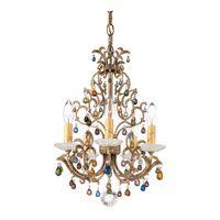 Schonbek Genesis 5 Light Chandelier in Bronze Gold and Color Mix Vintage W/Jewel Trim 9875 | Lighting New York
