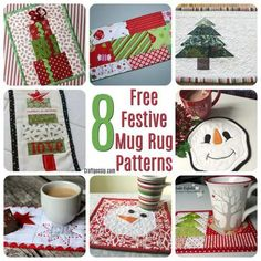 These quilting patterns are all free and are all for mug rugs. What is a mug rug? A fancy name for a small placemat. All of these mug rugs have a Christmas theme and most of them are suitable for … Christmas Mug Rugs, Quilted Christmas Ornaments, Christmas Placemats, Christmas Sewing, Christmas Crafts, Christmas Ideas, Christmas Things, Vintage Christmas, Christmas Stockings
