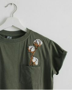 Botanical embroidery women's t-shirt clothing floral embroidery custom t-shirt gift for her florist gift cotton flower - Modern Embroidery On Clothes, Embroidered Clothes, Floral Embroidery, T Shirt Embroidery, Custom Embroidery, Custom T, Diy Clothes, Clothes Refashion, Shirt Outfit