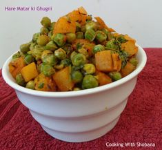 Spicy side dish made with green peas and potatoes