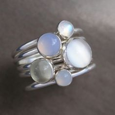 Luminous Gemstone Stacking Rings, Sterling Silver, Moonstone, Stackable Ring Set of 5 Rings,