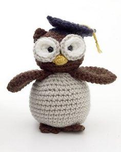Free Crochet Pattern Amigurumi Graduation Owl : Lion Brand Yarn Company - top of the Xmas tree? Owl Crochet Patterns, Crochet Birds, Owl Patterns, Crochet Crafts, Crochet Projects, Free Crochet, Knit Crochet, Crochet Lion, Crochet Summer